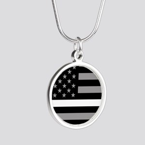EMS: Black Flag & Thin White Silver Round Necklace