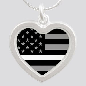 EMS: Black Flag & Thin White Silver Heart Necklace