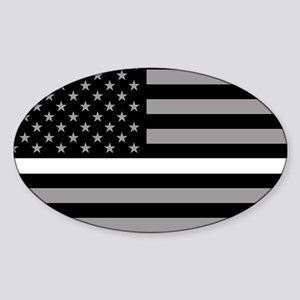 EMS: Black Flag & Thin White Line Sticker (Oval)