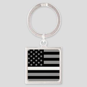 EMS: Black Flag & Thin White Line Square Keychain
