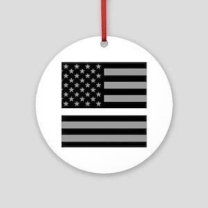 EMS: Black Flag & Thin White Line Round Ornament