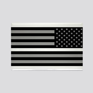 EMS: Black Flag & Thin White Line Rectangle Magnet