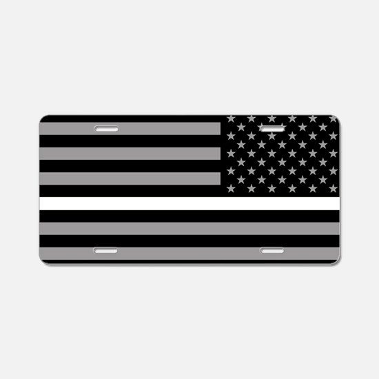EMS: Black Flag & Thin Whit Aluminum License Plate