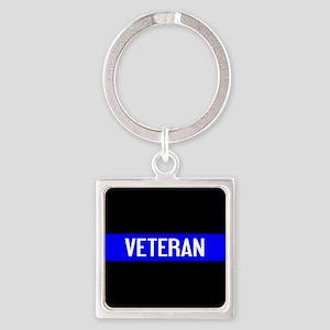Police: Veteran & The Thin Blue Li Square Keychain