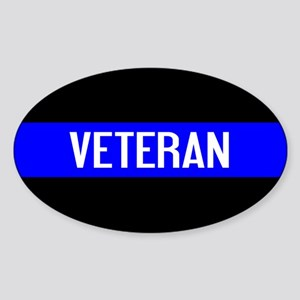 Police: Veteran & The Thin Blue Lin Sticker (Oval)