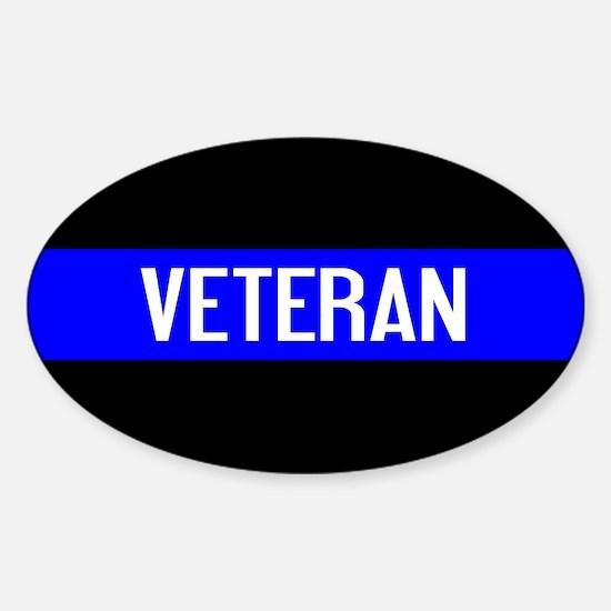 Police: Veteran & The Thin Blue Lin Sticker (Oval)