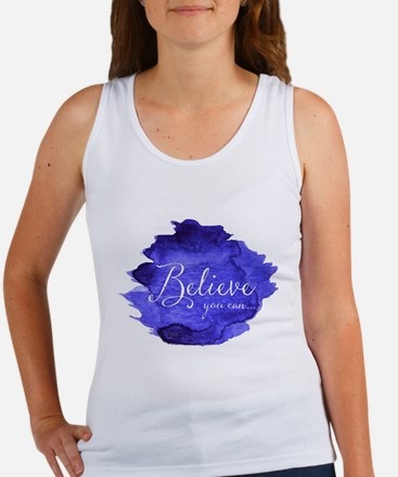 Believe You Can And You Will Blue and Pur Tank Top