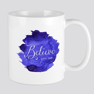 Believe You Can And You Will Blue and Purple Mugs