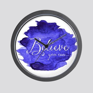 Believe You Can And You Will Blue and P Wall Clock