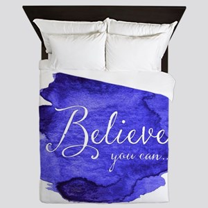 Believe You Can And You Will Blue and Queen Duvet
