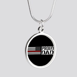 Firefighter: Proud Dad (Blac Silver Round Necklace