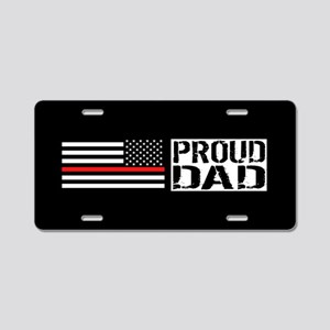Firefighter: Proud Dad (Bla Aluminum License Plate