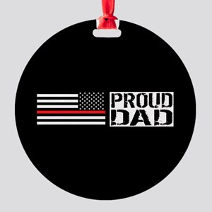 Firefighter: Proud Dad (Black Flag, Round Ornament