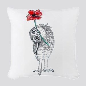 Owl & Poppy Woven Throw Pillow