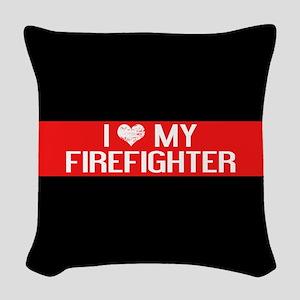 Firefighter: I Love My Firefig Woven Throw Pillow