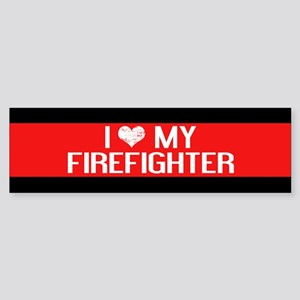 Firefighter: I Love My Firefighte Sticker (Bumper)