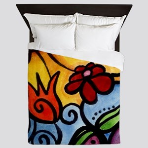 Summer Sun Flowers Queen Duvet