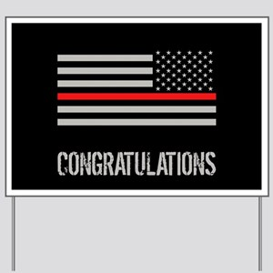 Firefighter: Congratulations (Black Flag Yard Sign