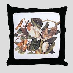 Black Billed Cuckoo Birds of America Throw Pillow