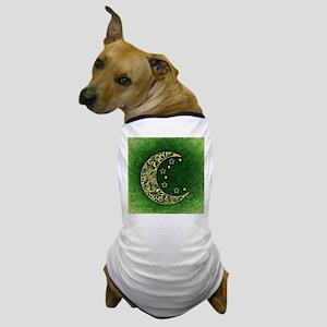 Crescent Moon (Green) Dog T-Shirt
