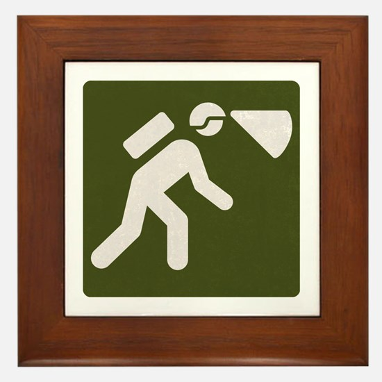 Spelunking sign Framed Tile