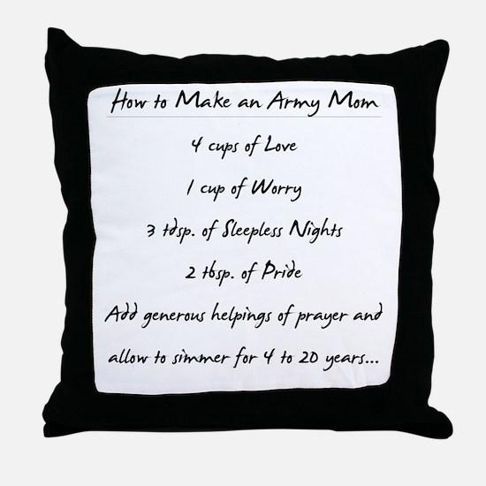 """Army Mom Recipe"" Throw Pillow"