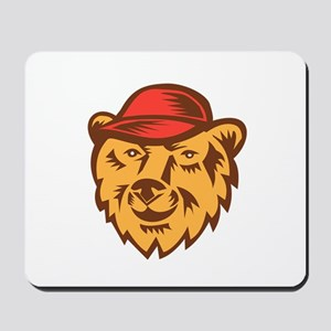 Bear Head Wearing Hat Woodcut Mousepad