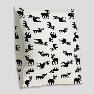 French Bulldogs Burlap Throw Pillow
