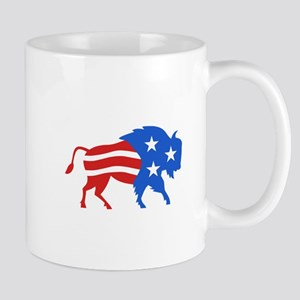 North American Bison USA Flag Retro Mugs