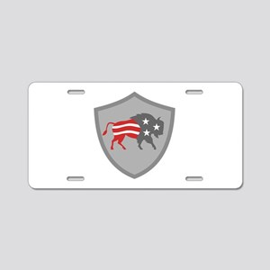 North American Bison USA Flag Shield Retro Aluminu