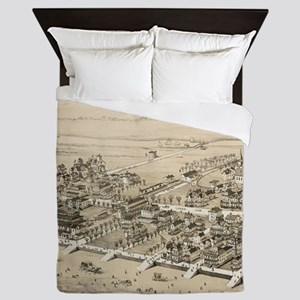 Vintage Pictorial Map of Sea Isle City Queen Duvet