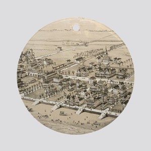 Vintage Pictorial Map of Sea Isle C Round Ornament
