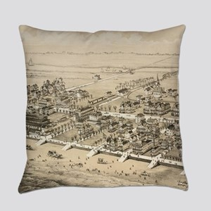 Vintage Pictorial Map of Sea Isle Everyday Pillow