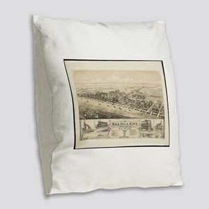 Vintage Pictorial Map of Sea I Burlap Throw Pillow