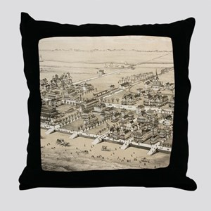 Vintage Pictorial Map of Sea Isle Cit Throw Pillow
