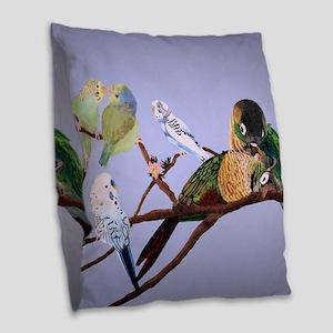 Bird Painting Burlap Throw Pillow