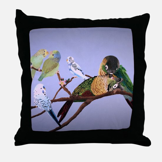 Bird Painting Throw Pillow