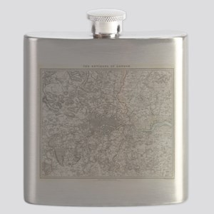 Vintage Map of London England (1832) Flask