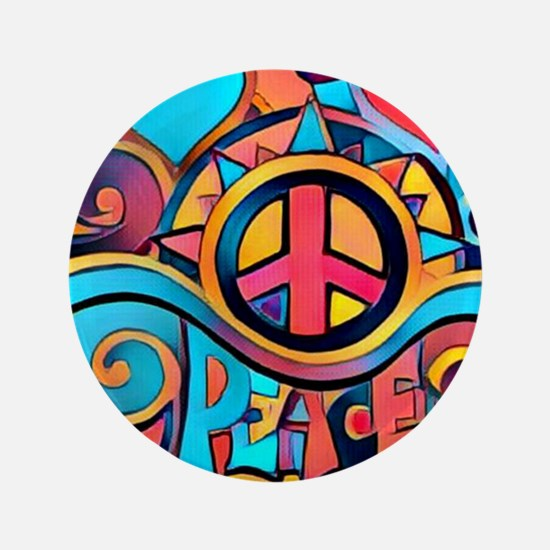 Colorful Hippie Art Button