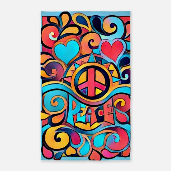 Colorful Hippie Art Area Rug