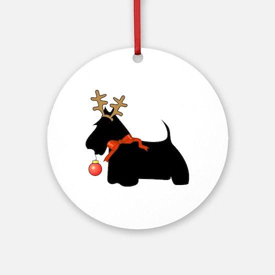 Scottie Dog Reindeer Ornament (Round)