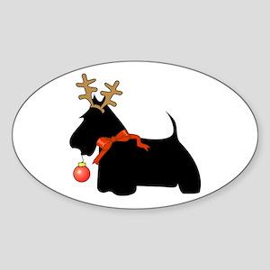 Scottie Dog Reindeer Oval Sticker
