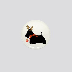 Scottie Dog Reindeer Mini Button