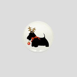 Scottie Dog Reindeer Mini Button