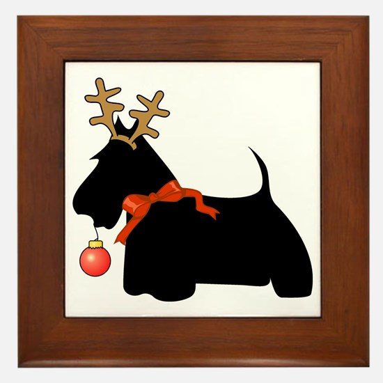 Scottie Dog Reindeer Framed Tile