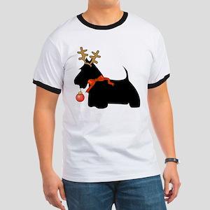 Scottie Dog Reindeer Ringer T