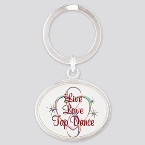 Live Love Tap Dance Oval Keychain