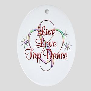 Live Love Tap Dance Oval Ornament