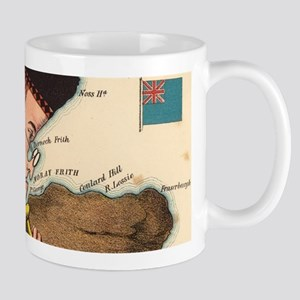 Vintage Scotland Bagpiper Map (1868) Mugs