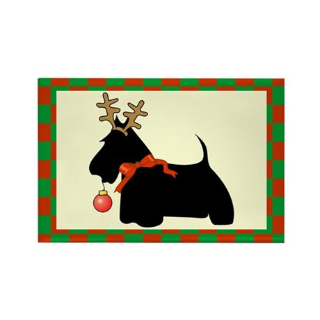 Scottish Terrier Christmas Rectangle Magnet